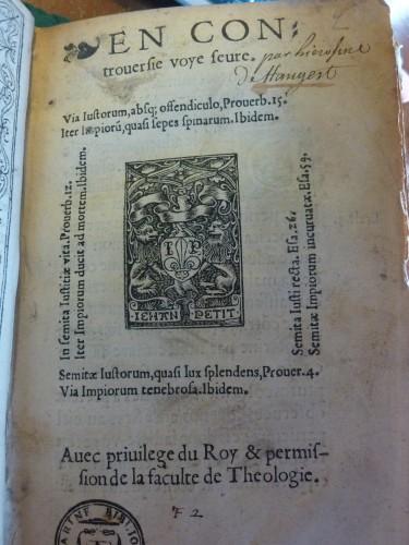 Titelblatt der Hangest-Flugschrift (Bibliothèque Mazarine, Paris)