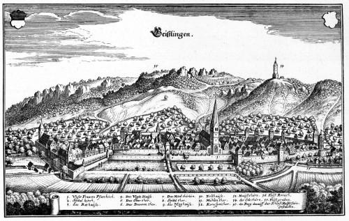 Geislingen in einem Kupferstich von Matthäus Merian, Topographia Sueviae, 1643.